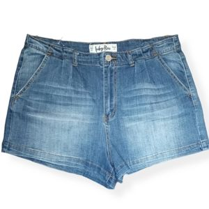 Indigo Rein Pleated Jean Shorts